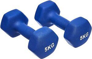 Used Dumbbells Pair Weights Neoprene 5KG Gym Aerobic Exercise