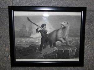Portrait Nelson's Conflict with a Bear July 1773. C19th Line Engraving  Westall