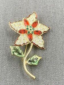 Vintage Monet Crystal Rhinestone Poinsettia Brooch Pin