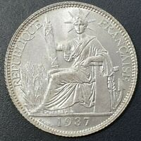 French Indochina 20 Cent 1937 KM:17.2 Silver 0.680 Poids BU Lustre Coin