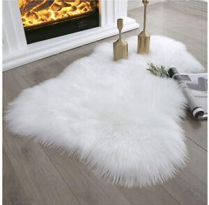 White Faux Sheepskin Fur 2x3 ft Area Rug for Nursery Bedroom Living Room Dining