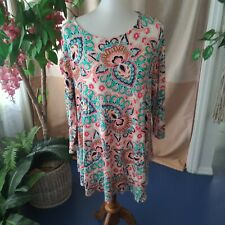 Chicos Size 3 Ladies Multicolor Floral Paisley Knit Tunic Long Sleeve