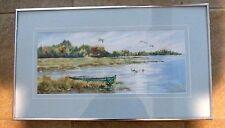"Marsh Rowboat Ducks Sandra Priest Framed Watercolor 1993 Signed Maine 23"" X 13"""
