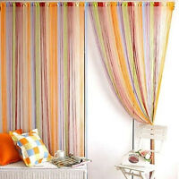 Hot!! Colorful Fringe Door Window Panel Room Divider String Curtain Strip Tassel