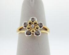 Genuine Diamonds Solid 18k Yellow & White Gold Flower Ring FREE Sizing