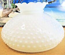 XTRA LARGE WHITE MILK GLASS SHADE HOBNAIL RUFFLED TOP FOR KEROSENE OIL LAMPS