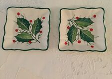 Vintage Set of 2 Small Dishes For Nuts Or Serving Square Italy Holly Leaves