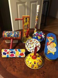 Vintage Lot Of 9 Tin Noise Makers Horn Grogger Shaker Kirchhoff US Metal Toys