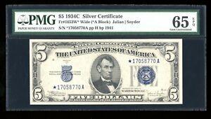 DBR $5 1934-C Silver STAR Gem Fr. 1653W* Wide PMG 65 EPQ Serial *17058770A