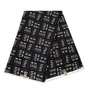 African Black white MUD CLOTH / Bogolan fabric print (Traditional Mali print)