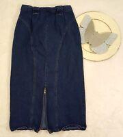 VTG Weathered Blues Womens Size 9/10 Mid Calf Blue Modest Denim Jean Skirt o649