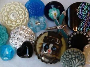 STUNNING VINTAGE & NEW BUTTONS Glass Cameo Cat Czech Rhinestone Buffed Flower +