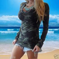 New Womens Long Sleeve Blouse Camouflage Printing Slim T-shirt Tops V-neck Shirt