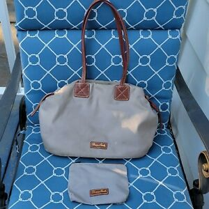 Dooney & Bourke | Gray Nylon Tote Bag w/ Pouch | Brown Leather Straps