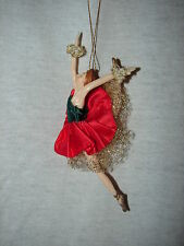 Ballerina Doll Christmas Ornament - Red & Green Dress