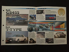 Buick GS455 vs Buick T-Type IMP Hot Cars Spec Sheet Folder Brochure RARE