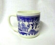Vintage Blue Willow Blue White Birds Houses Trees Ceramic Cup Mug USA