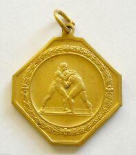 h089 Romania 1930's WRESTLING Championship Award 1st place gilt Sport Medal
