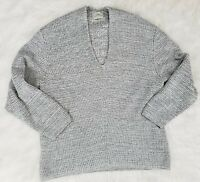Urban Outfitters Chunky Knit Black V neck Sweater Thick Oversized Large Gray