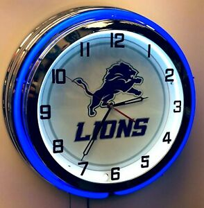 "19"" Detroit Lions Sign Blue Neon Clock Chrome Finish Football NFL Lions"