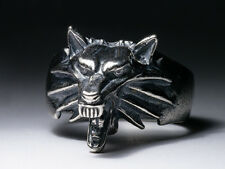 WItcher Medallion Ring, silver-plated brass, Wolf School, Wolf Head Ring