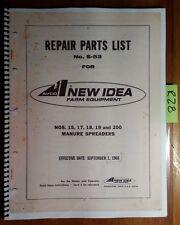 New Idea 15 17 18 19 200 Manure Spreader Repair Parts Catalog Manual S-53 9/68