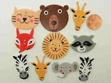 10 boutons Tète animal bois découpé mix couleurs DIY déco scrapbooking