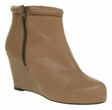 Office Wedge Ankle 100% Leather Boots for Women