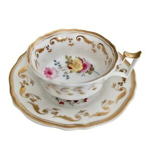 Yates teacup, white with gilt and flowers, ca 1825