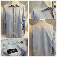 Canali Dress Shirt 17.5 35 Blue Plaid Cotton Made In Italy YGI E9-486
