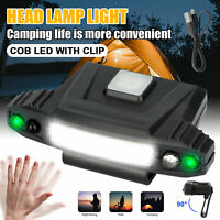 LED Clip-on Cap Headlamp USB Rechargeable Sensor Hat Lamp Headlight Torch Light