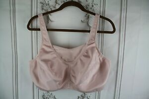 Glamorise Womens Sports Bra Size 46C Adjustable No Bounce Cami Beige Wireless