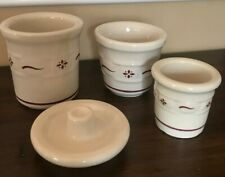 Longaberger Red Woven Pottery Lot Of 4 Salt Cellars