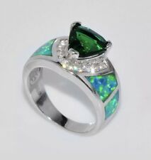 Green Emerald Women 10KT White Gold Filled Ring Size 8