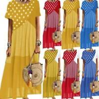 Ladies Summer Polka Dot Stitching Check Short Sleeve Fashion Casual Long Dress