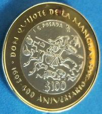 Mexico $100 pesos 400th Anniversary of Don Quijote proof like silver coin 2005