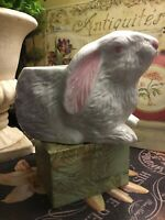 """Rabbit/Bunny~Planter~Pink & White~Cottage/French Country~FREE SHIPPING~7""""W X 5""""H"""