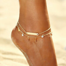 Women Sequins Multilayer Star Summer Yoga Beach Leg Bracelet Anklet Foot Jewelry