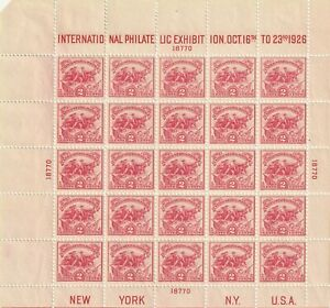 Scott#630 1926 International Philatelic Exhibition NH - OG + Scott#629 MNH OG