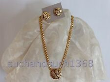 Avon Private Collection Goldtone & Rhinestone Deco Station Necklace & Earring