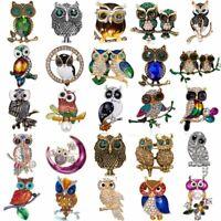 Charm Women Animal Owl Brooch Pin Crystal Pearl Enamel Wedding Jewelry Gift Hot