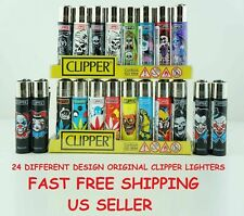 4 Full Size Assorted Color Mix Design Refillable CLIPPER Lighters Lighter Spain