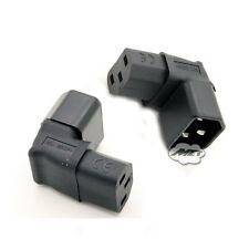 IEC C14 Male to C13 Female Up 90° Angled Socket to Plug Adapter Converter For TV