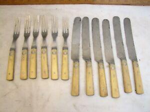 American Cutlery Steer Bone Handle Flatware 3-Tine Fork Knife Civil War Prop