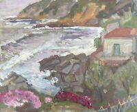 Edith Reichert 1924-2013 Oil Painting Home At Sea Mittelmeerküste Mallorca?