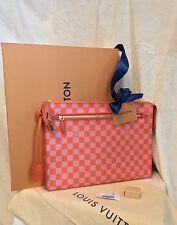 "NIB LOUIS VUITTON Damier Couleurs Kit Clutch Handbag, Pimento Orange, 13"" X 10"""