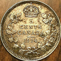 1914 CANADA SILVER 5 CENTS COIN - Excellent example!