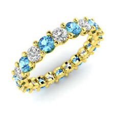 Real 14 K Yellow Gold 2.03 Ct Natural Diamond Topaz Gemstone Rings Size 4,8,9,5