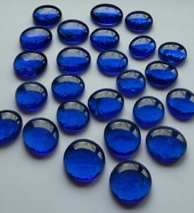 GLASNUGGETS BLAU Glassteine Mosaiksteine Muggelsteine Streudeko ca. 28 - 32 mm