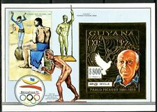 GUYANA 1992 Pablo PICASSO Olympic Games 92 BARCELONE Block 232 B Gold Imperf